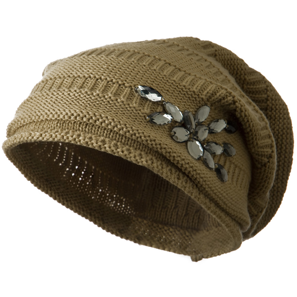 Knit Deep Shell Hat with Rhinestone - Beige - Hats and Caps Online Shop - Hip Head Gear