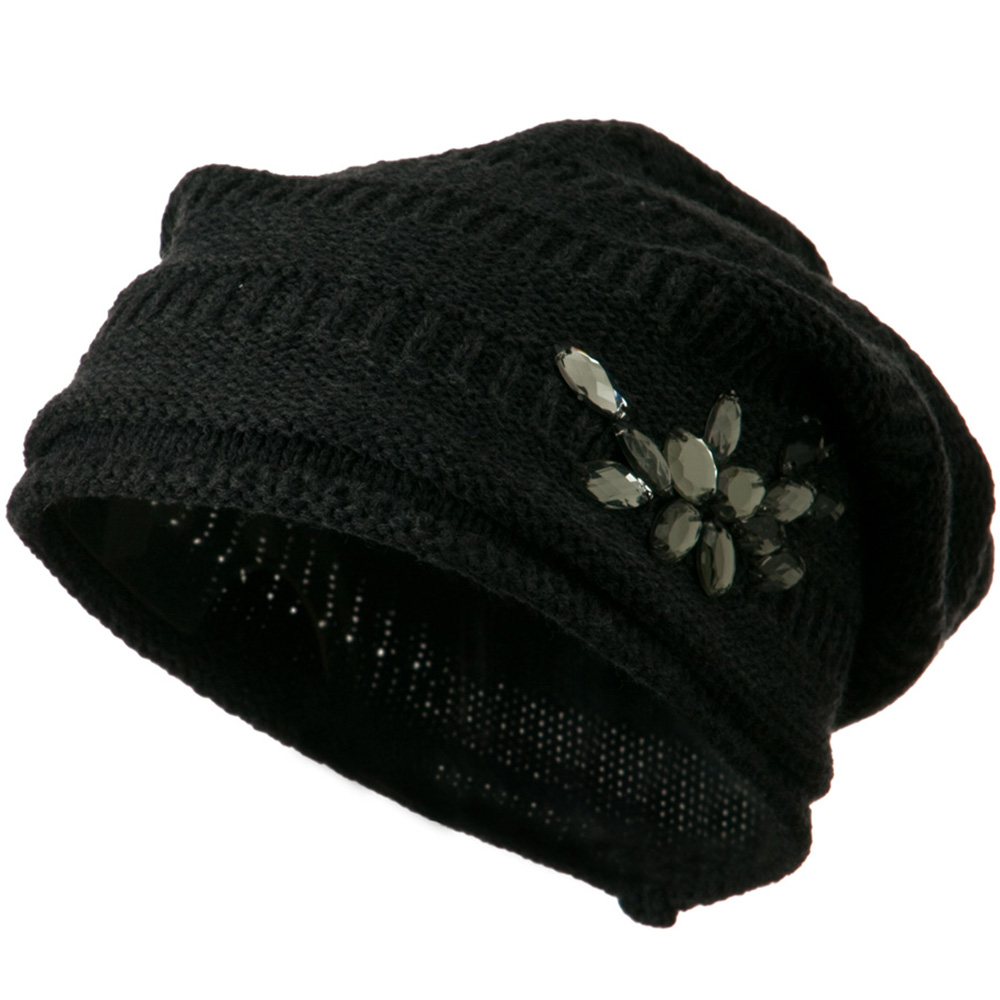 Knit Deep Shell Hat with Rhinestone - Charcoal