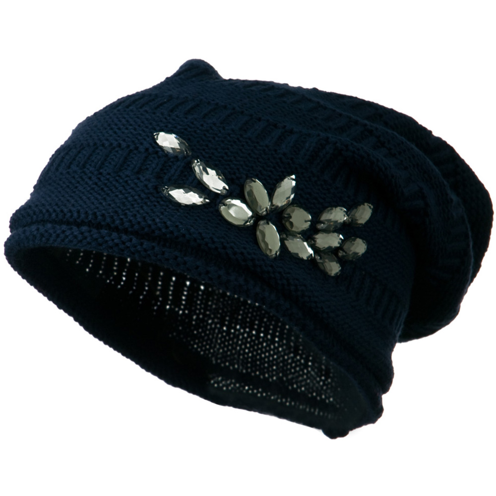 Knit Deep Shell Hat with Rhinestone - Navy