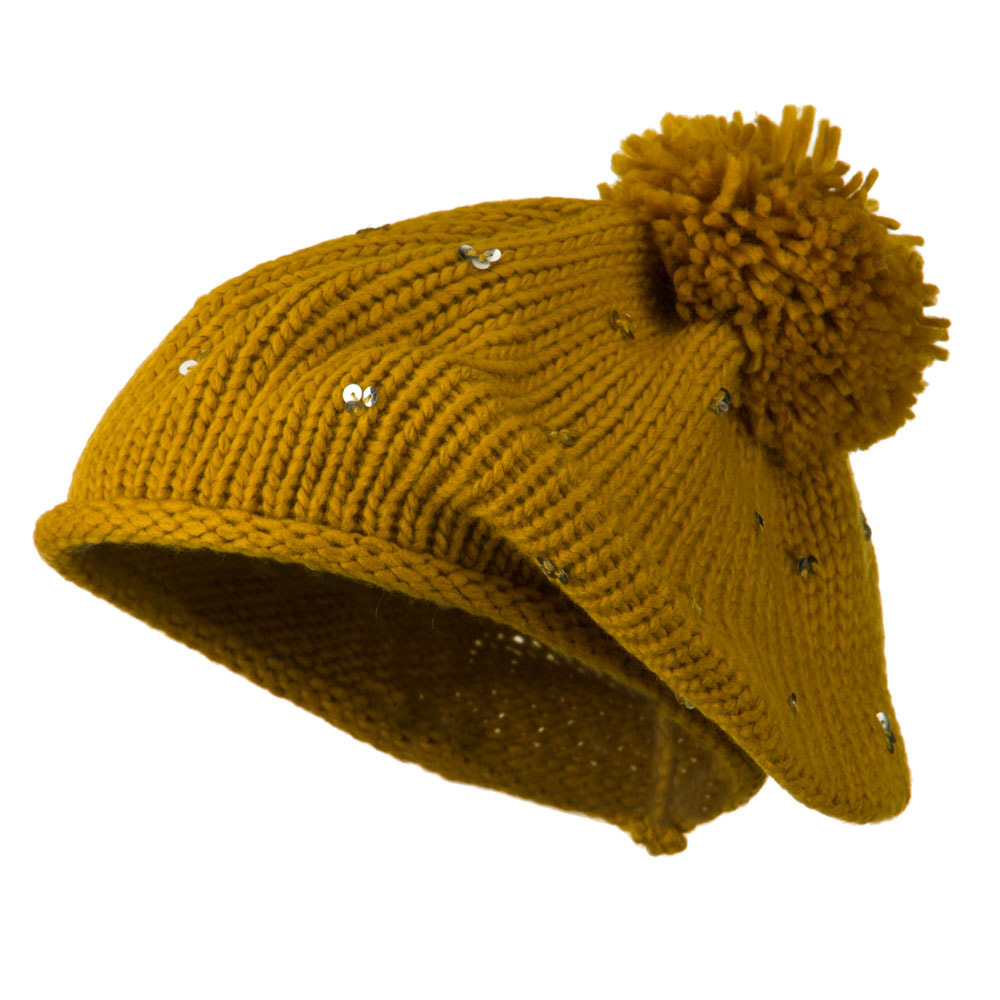 Knit Beret with Sequin and Tassel - Mustard