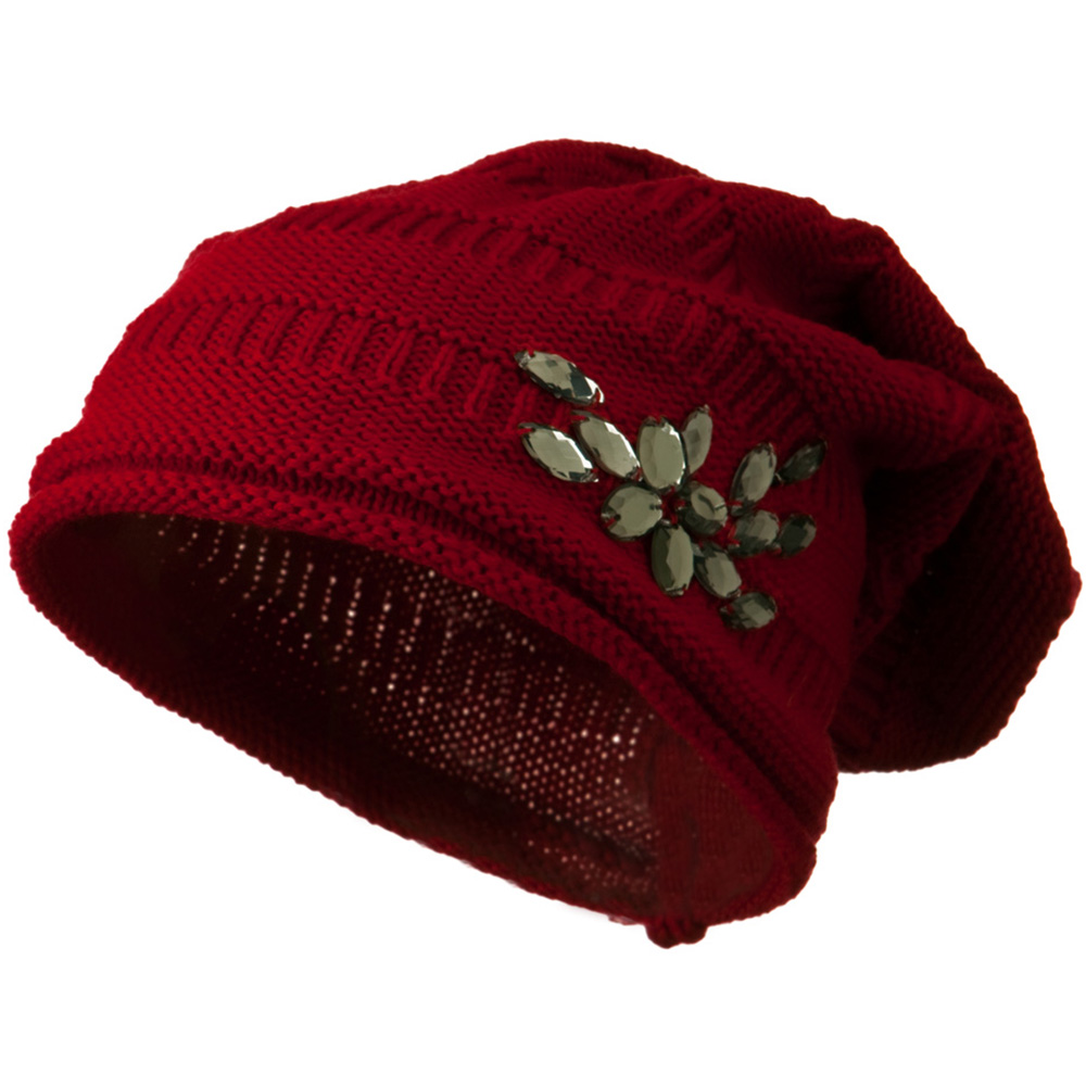 Knit Deep Shell Hat with Rhinestone - Red