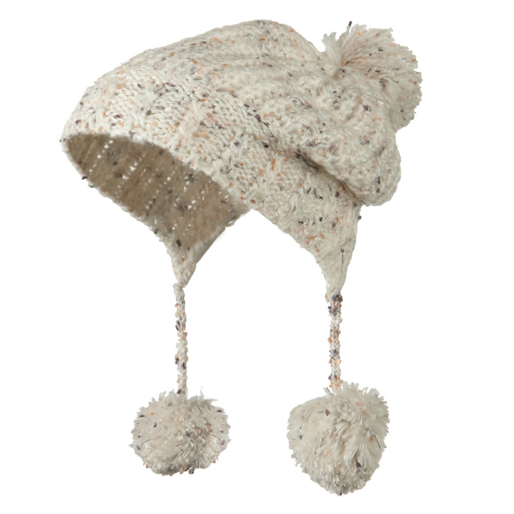 Knit Trapper Ski Beanie with Pom Pom - White - Hats and Caps Online Shop - Hip Head Gear
