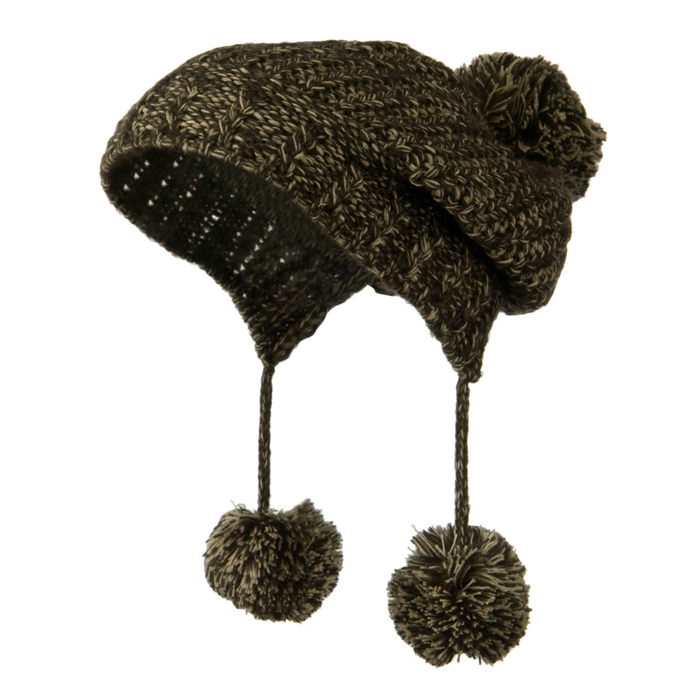 Knit Trapper Ski Beanie with Pom Pom - Brown - Hats and Caps Online Shop - Hip Head Gear