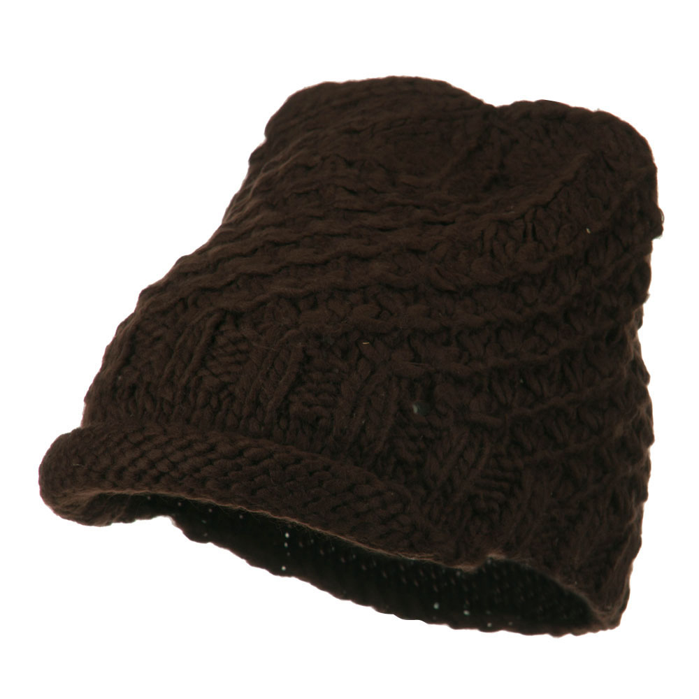 Knit Soft Rolled Beanie Visor - Brown