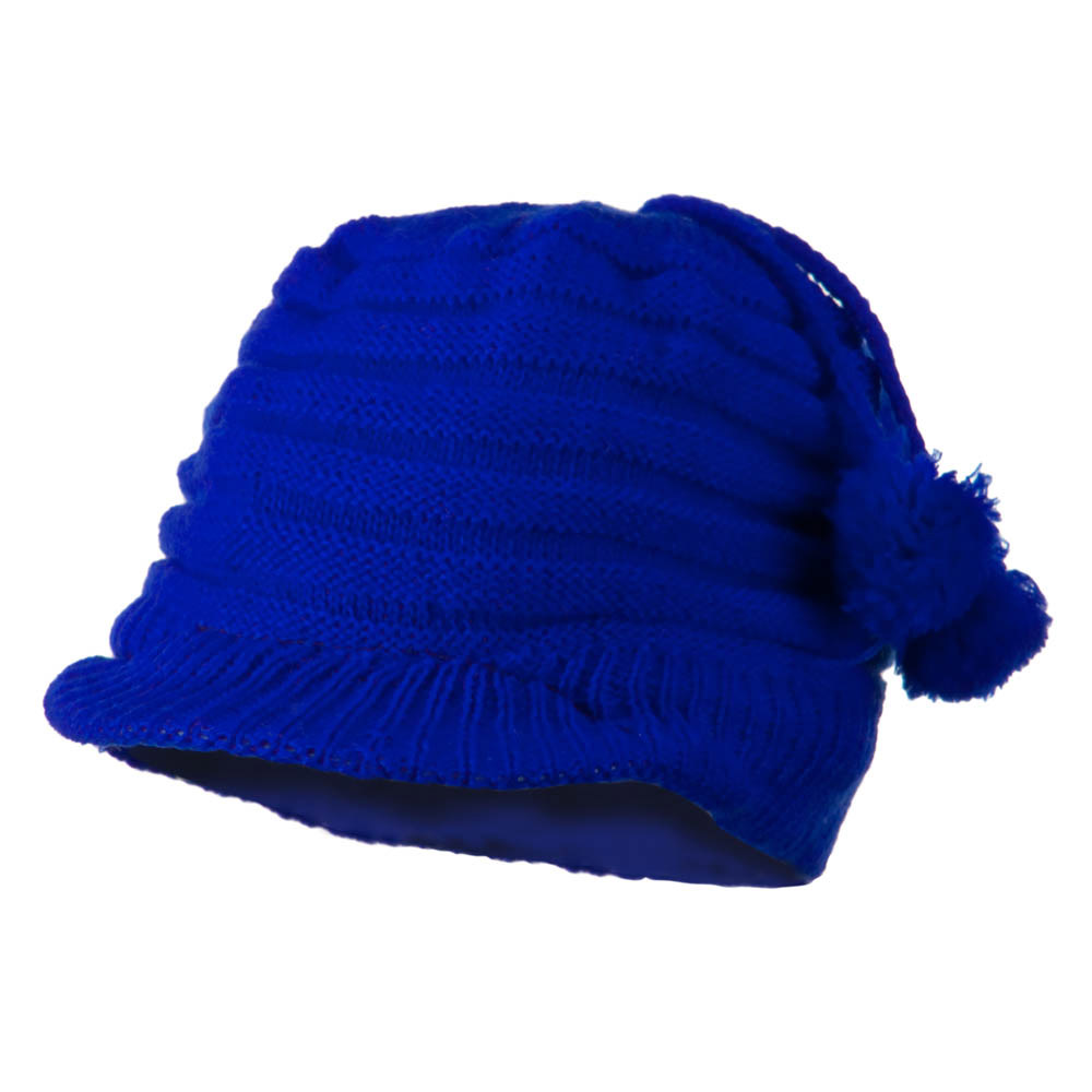 Knit Hat with Visor for Infant - Royal