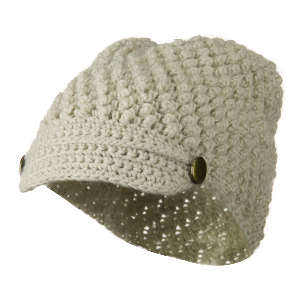 Woman's Knotted Woven Soft Brim Beanie - Beige - Hats and Caps Online Shop - Hip Head Gear