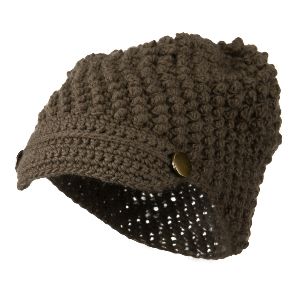 Woman's Knotted Woven Soft Brim Beanie - Mocha - Hats and Caps Online Shop - Hip Head Gear