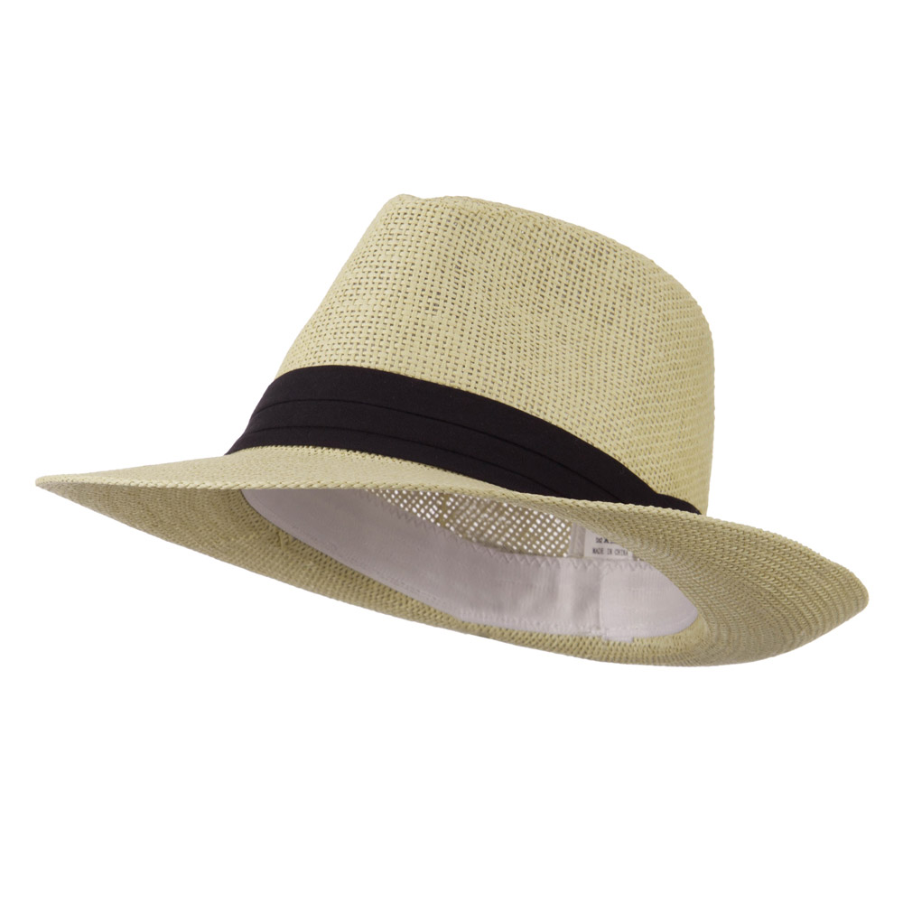 Large Bill Paper Straw Fedora - Natural - Hats and Caps Online Shop - Hip Head Gear