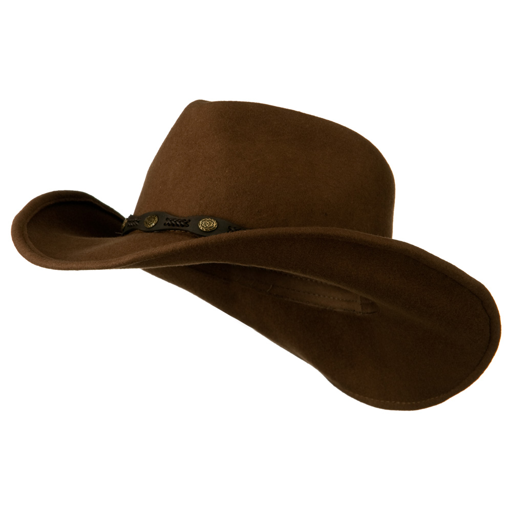 Man's Leatherette Band Outback Cowboy Hat - Pecan - Hats and Caps Online Shop - Hip Head Gear