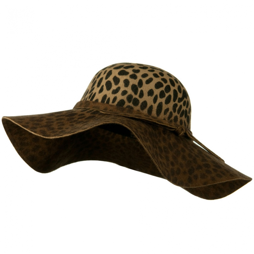 Animal Wide Brim Woman Felt Hat - Leopard - Hats and Caps Online Shop - Hip Head Gear