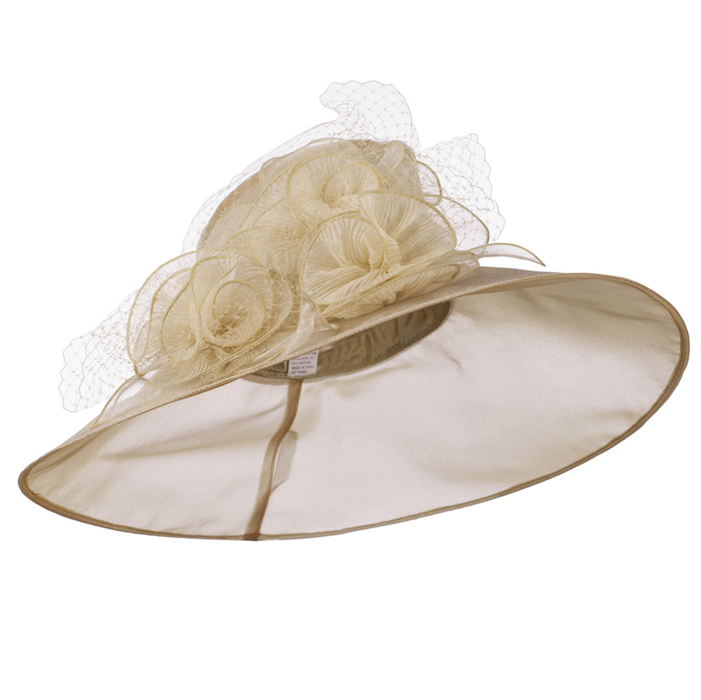 Ruffle Flowers Large Brim Organza Hat - Champagne - Hats and Caps Online Shop - Hip Head Gear