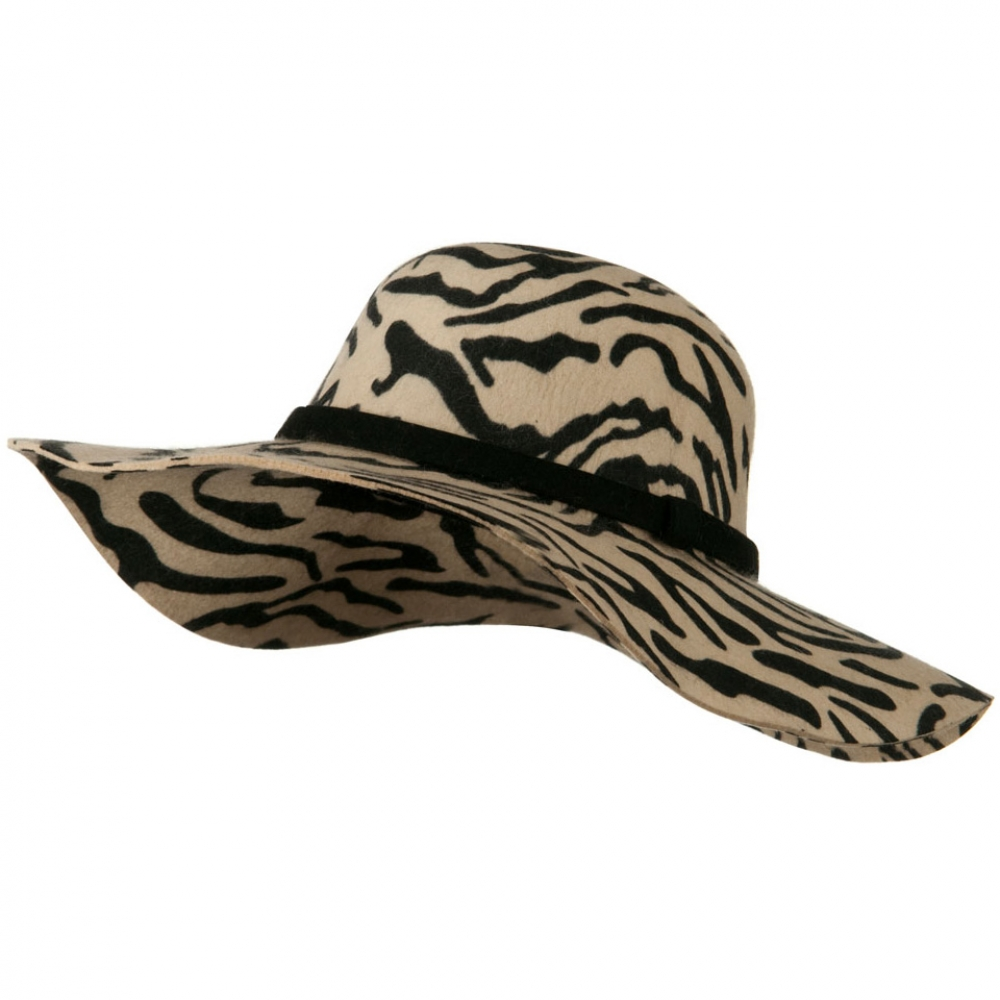 Animal Wide Brim Woman Felt Hat - Zebra - Hats and Caps Online Shop - Hip Head Gear