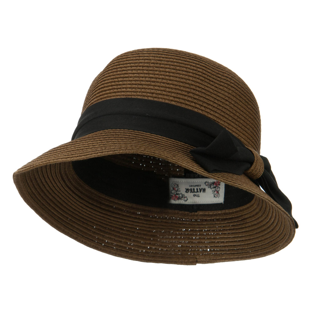 Ladies Straw Cloche Hat with Ribbon Band - Brown - Hats and Caps Online Shop - Hip Head Gear