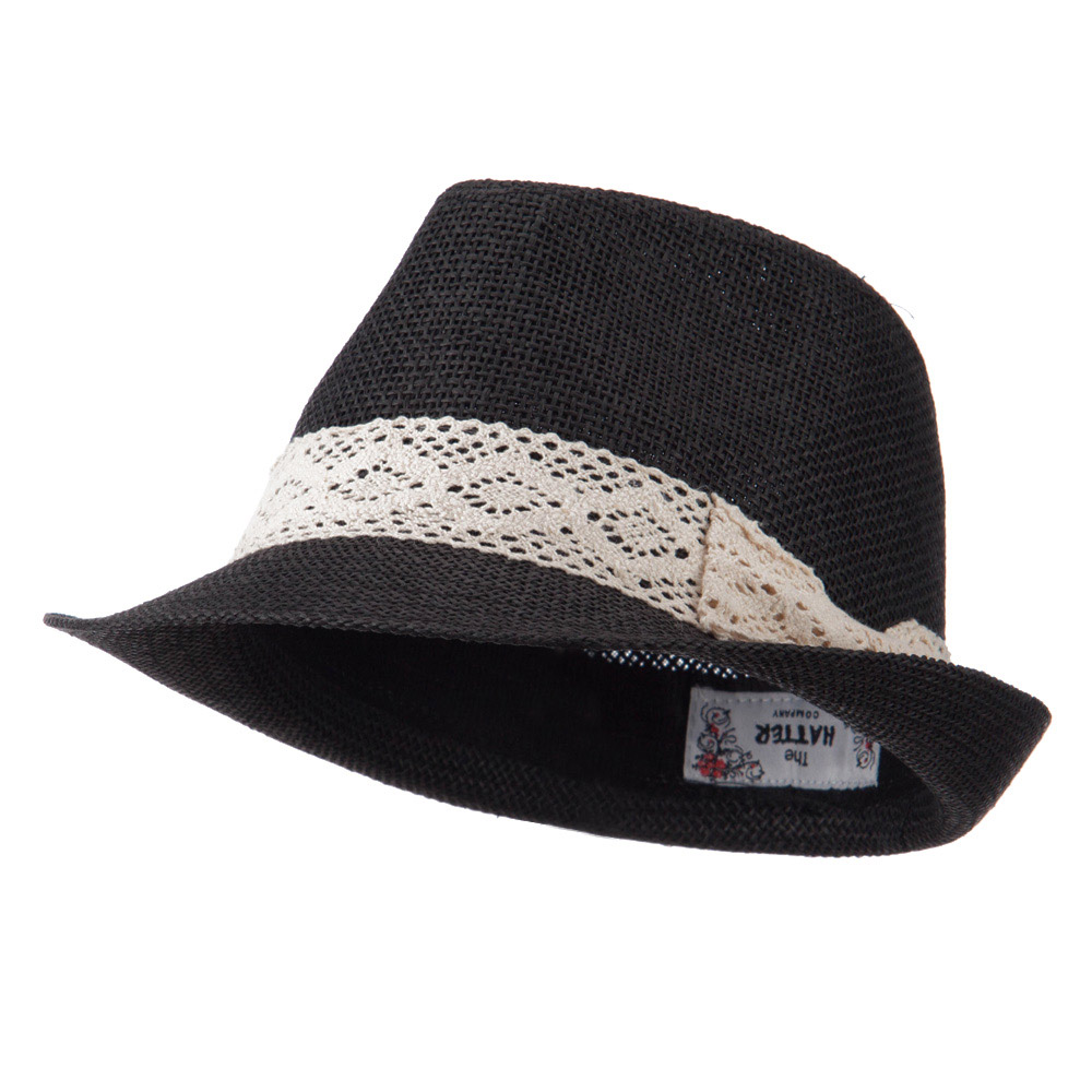 Lace Band Paper Straw Fedora - Black - Hats and Caps Online Shop - Hip Head Gear