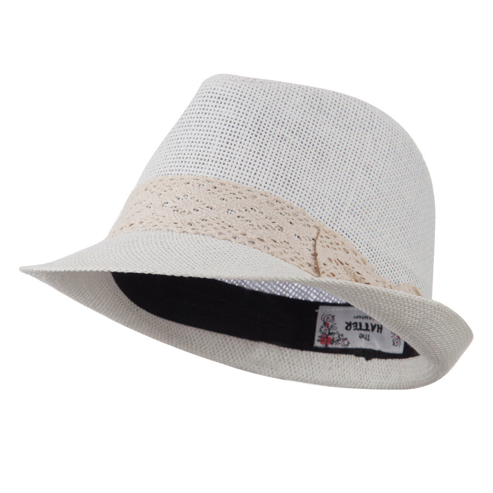 Lace Band Paper Straw Fedora - White - Hats and Caps Online Shop - Hip Head Gear