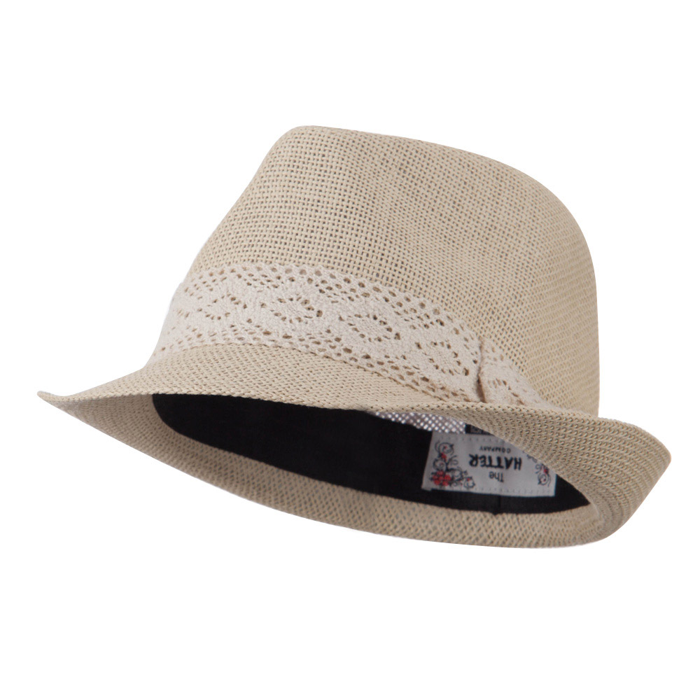 Lace Band Paper Straw Fedora - Tan - Hats and Caps Online Shop - Hip Head Gear