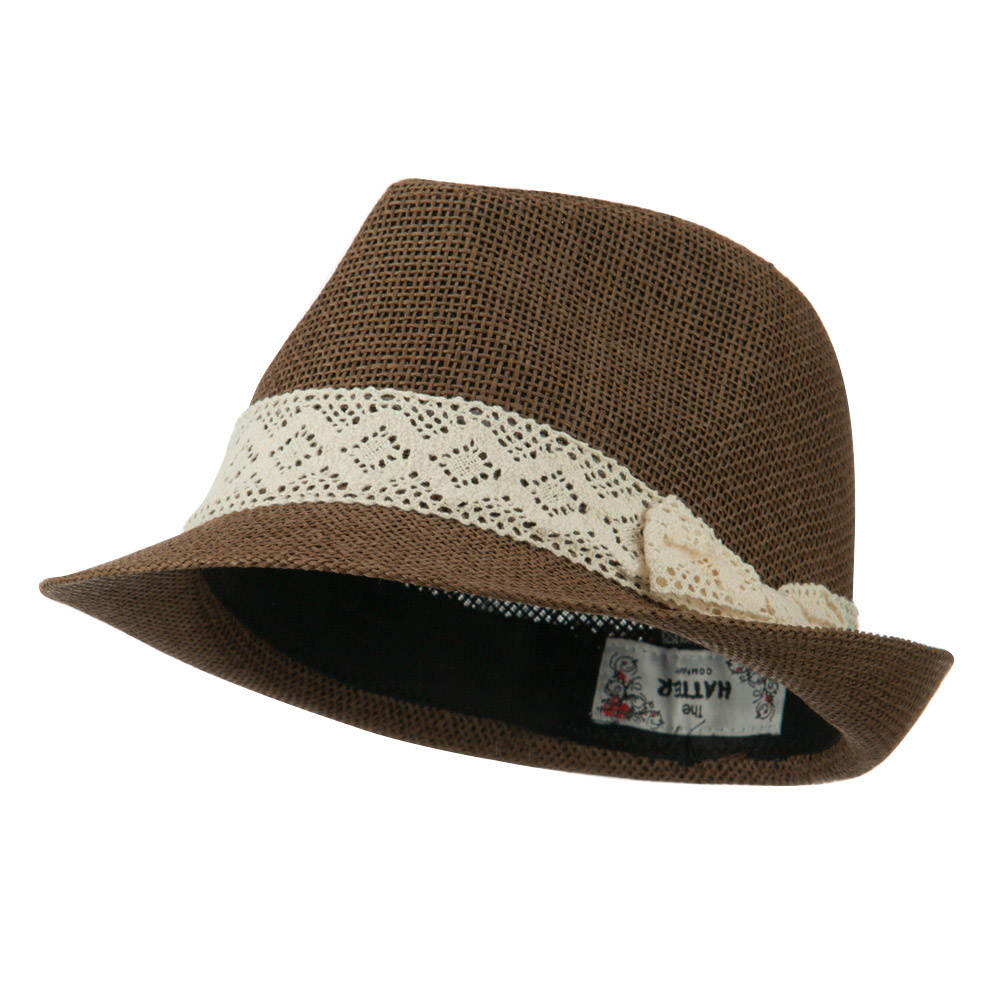 Lace Band Paper Straw Fedora - Brown - Hats and Caps Online Shop - Hip Head Gear