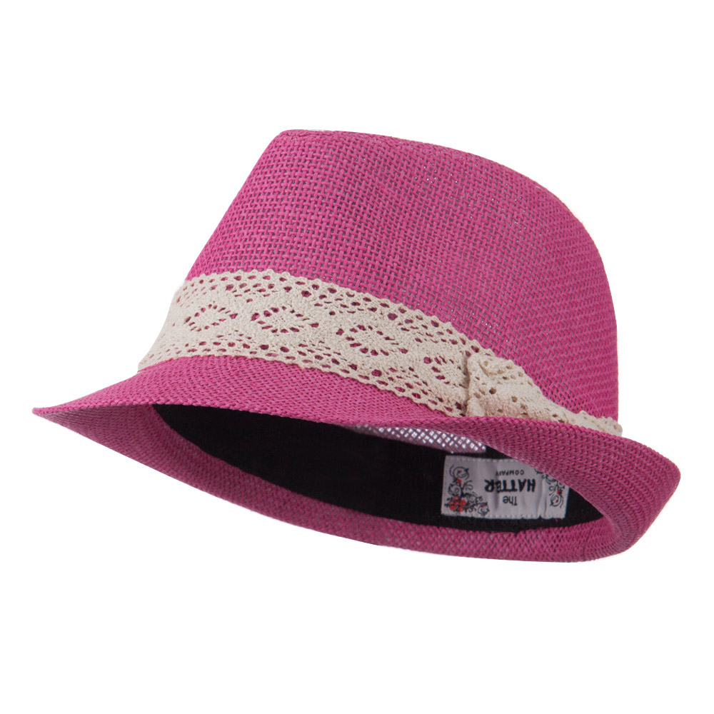 Lace Band Paper Straw Fedora - Fuchsia - Hats and Caps Online Shop - Hip Head Gear