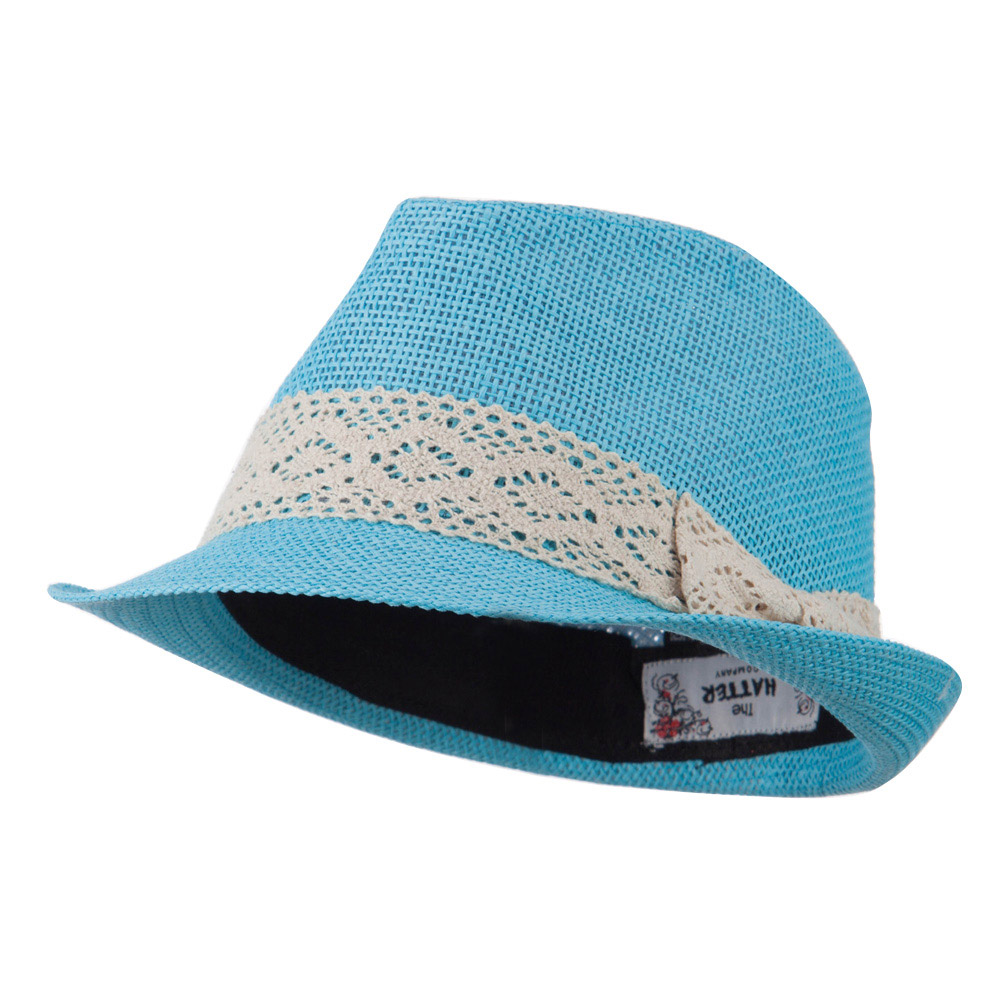 Lace Band Paper Straw Fedora - Turquoise - Hats and Caps Online Shop - Hip Head Gear