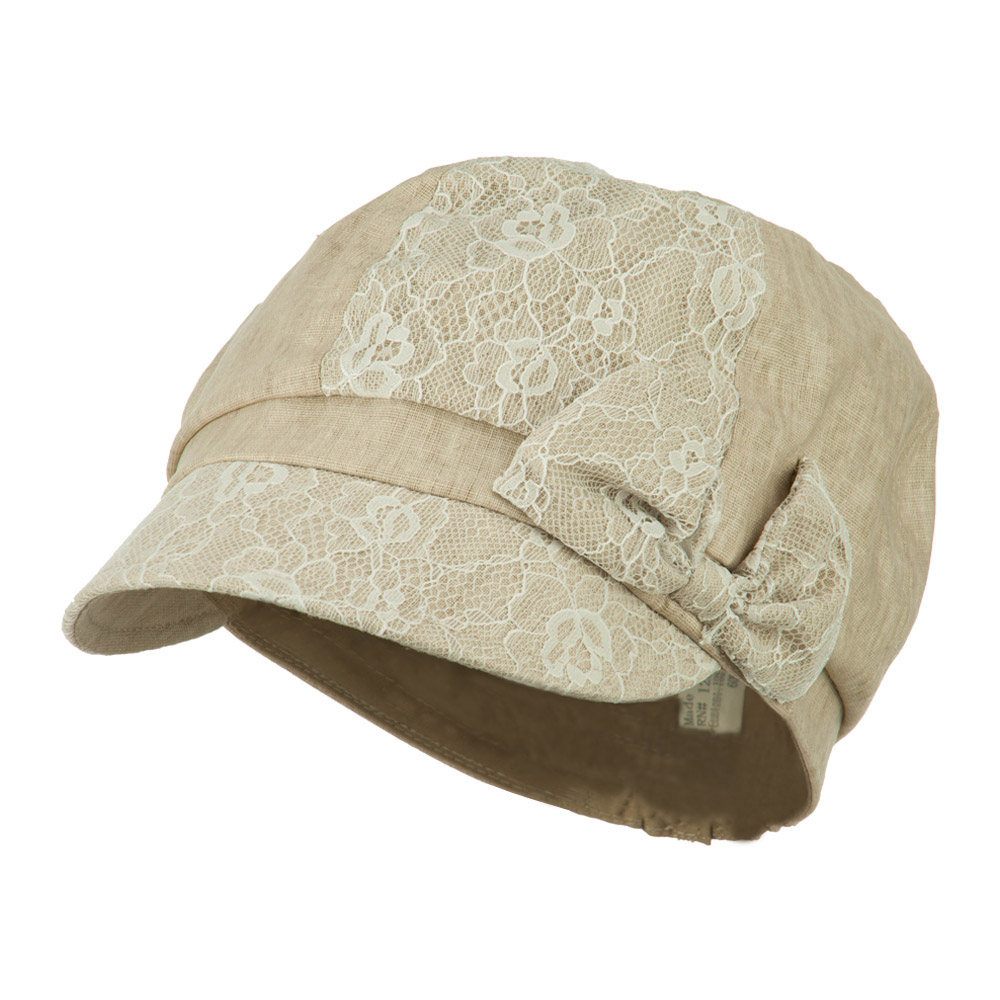 Women's Lace Detail Cabbie Cap with Bow Accent - Natural - Hats and Caps Online Shop - Hip Head Gear