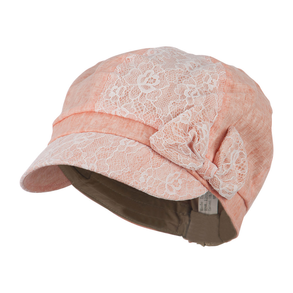 Women's Lace Detail Cabbie Cap with Bow Accent - Peach - Hats and Caps Online Shop - Hip Head Gear