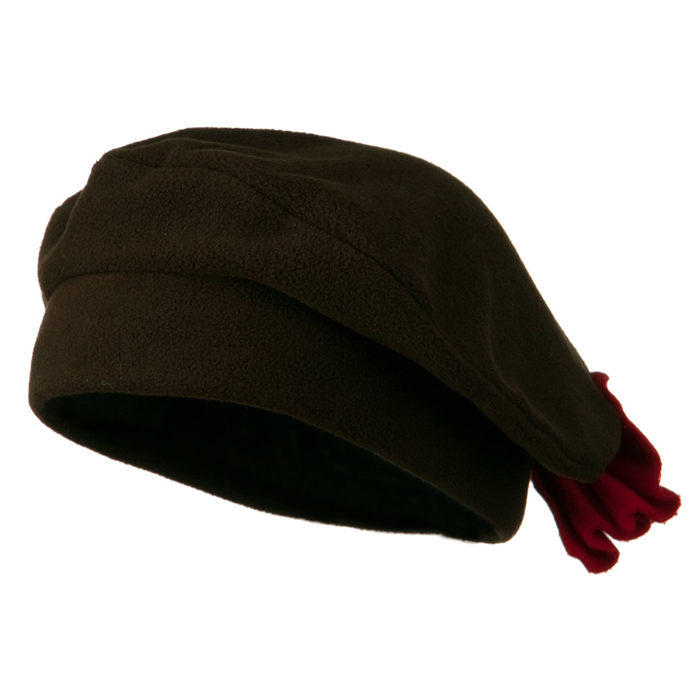 Ladies Fashionable Bow Fleece Beret - Brown - Hats and Caps Online Shop - Hip Head Gear