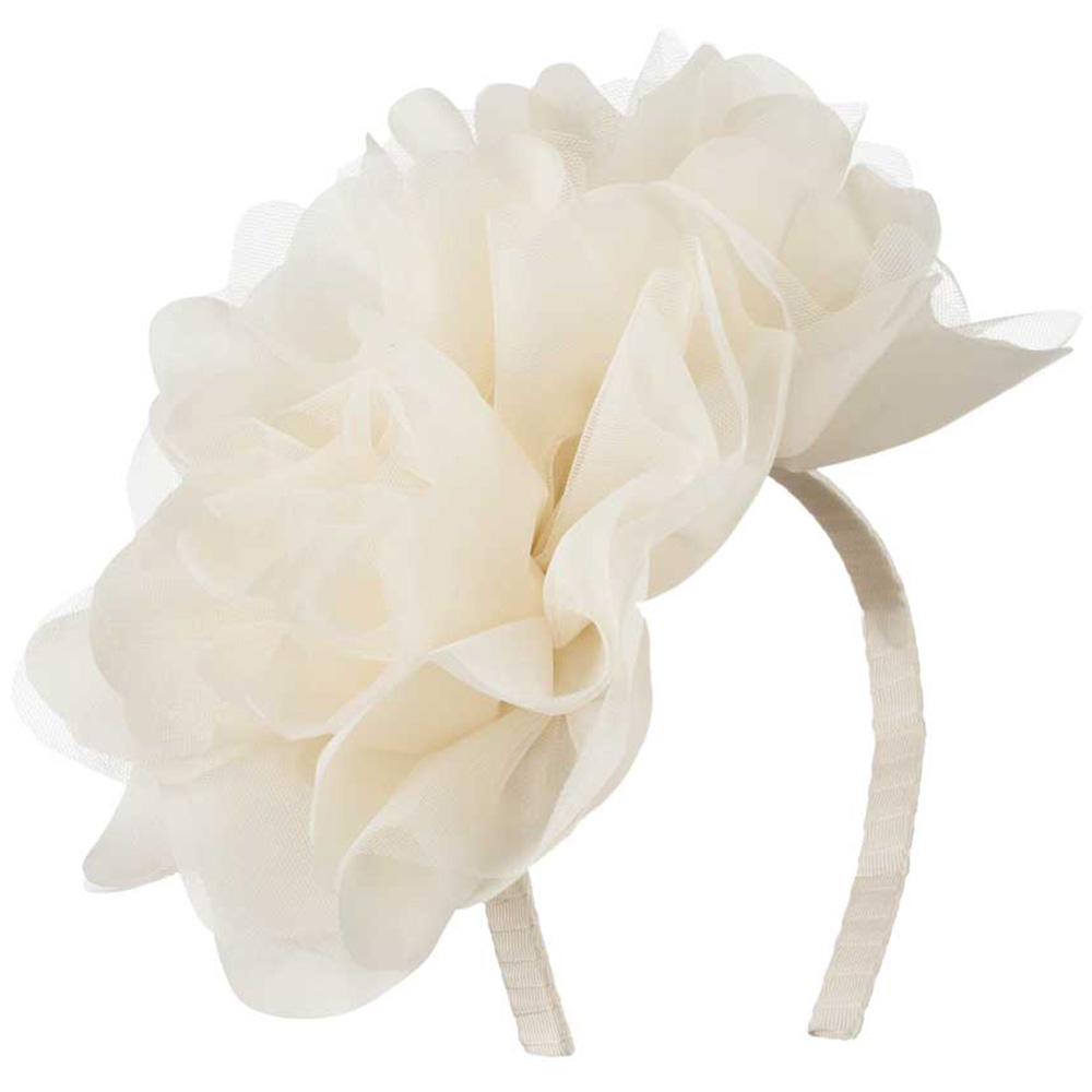 2 Large Soft Flowers with Netting Headband - Cream - Hats and Caps Online Shop - Hip Head Gear