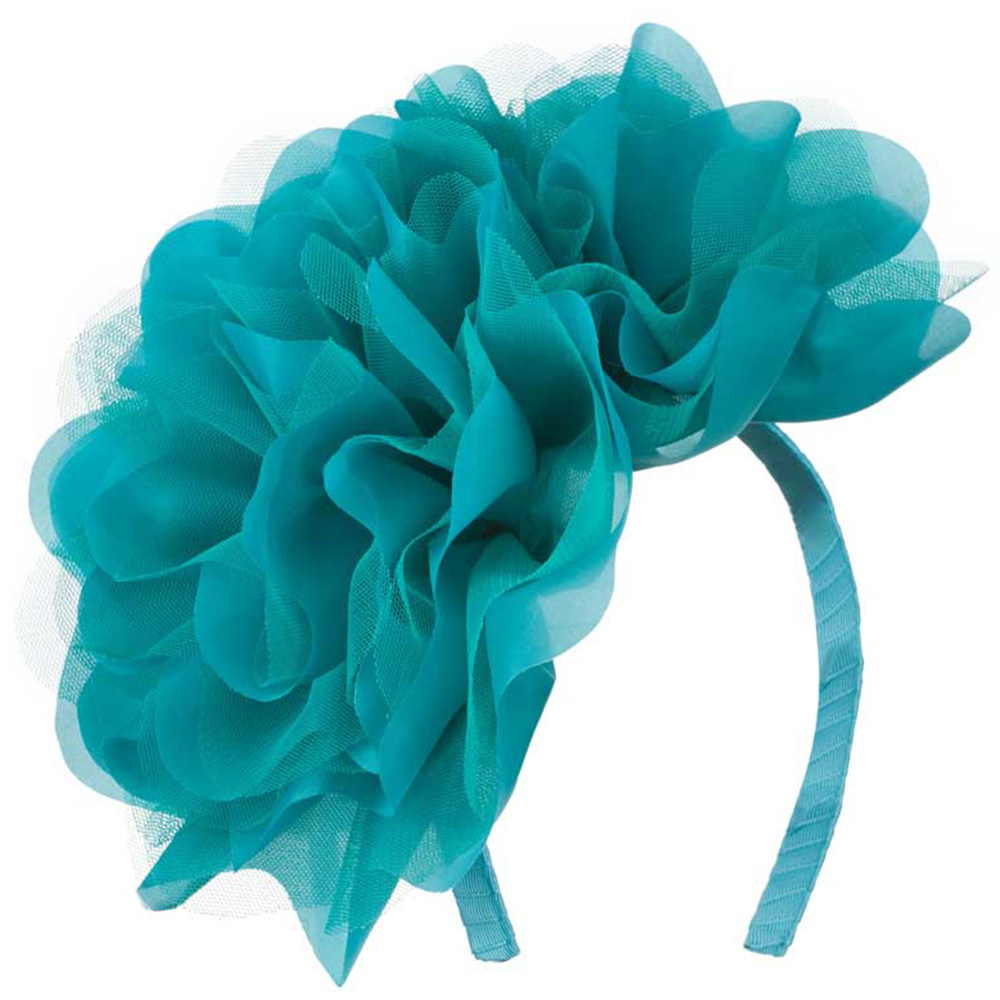 2 Large Soft Flowers with Netting Headband - Aqua - Hats and Caps Online Shop - Hip Head Gear