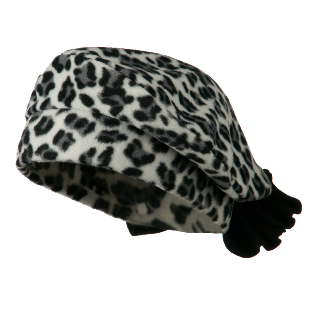 Ladies Fashionable Bow Fleece Beret - Cheetah White - Hats and Caps Online Shop - Hip Head Gear