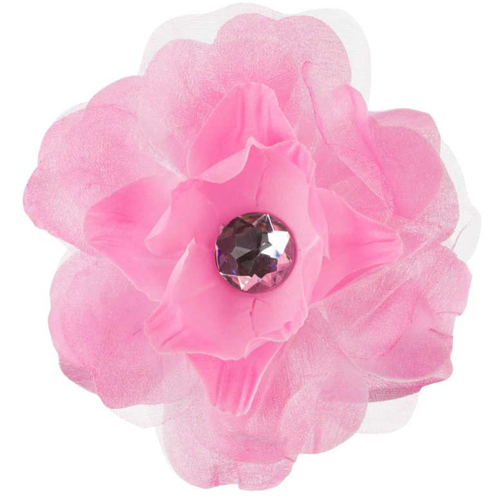 Lisianthus Flower Hair Clip with Lace - Pink