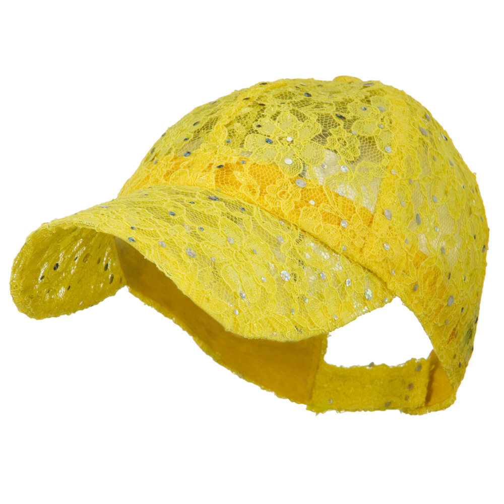 Lace Sequin Glitter Cap - Yellow - Hats and Caps Online Shop - Hip Head Gear