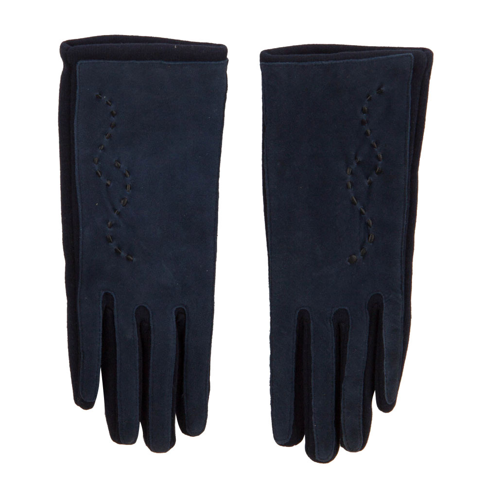 Women's Leather Suede Texting Glove - Blue