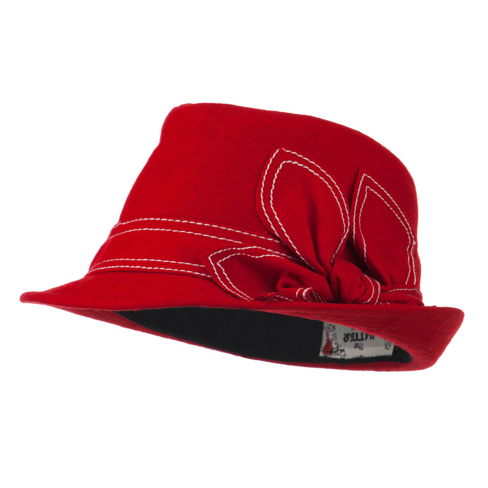 Ladies Fedora with Ribbon and Stitching - Red
