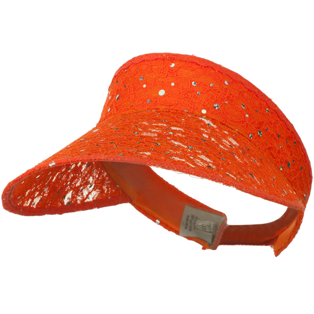Lace Glitter Sun Visor - Orange - Hats and Caps Online Shop - Hip Head Gear