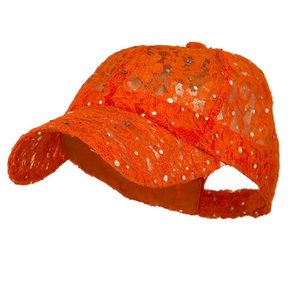 Lace Sequin Glitter Cap - Orange - Hats and Caps Online Shop - Hip Head Gear