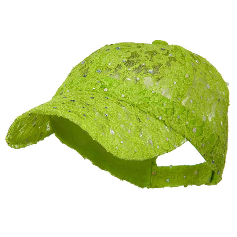 Lace Sequin Glitter Cap - Lime - Hats and Caps Online Shop - Hip Head Gear
