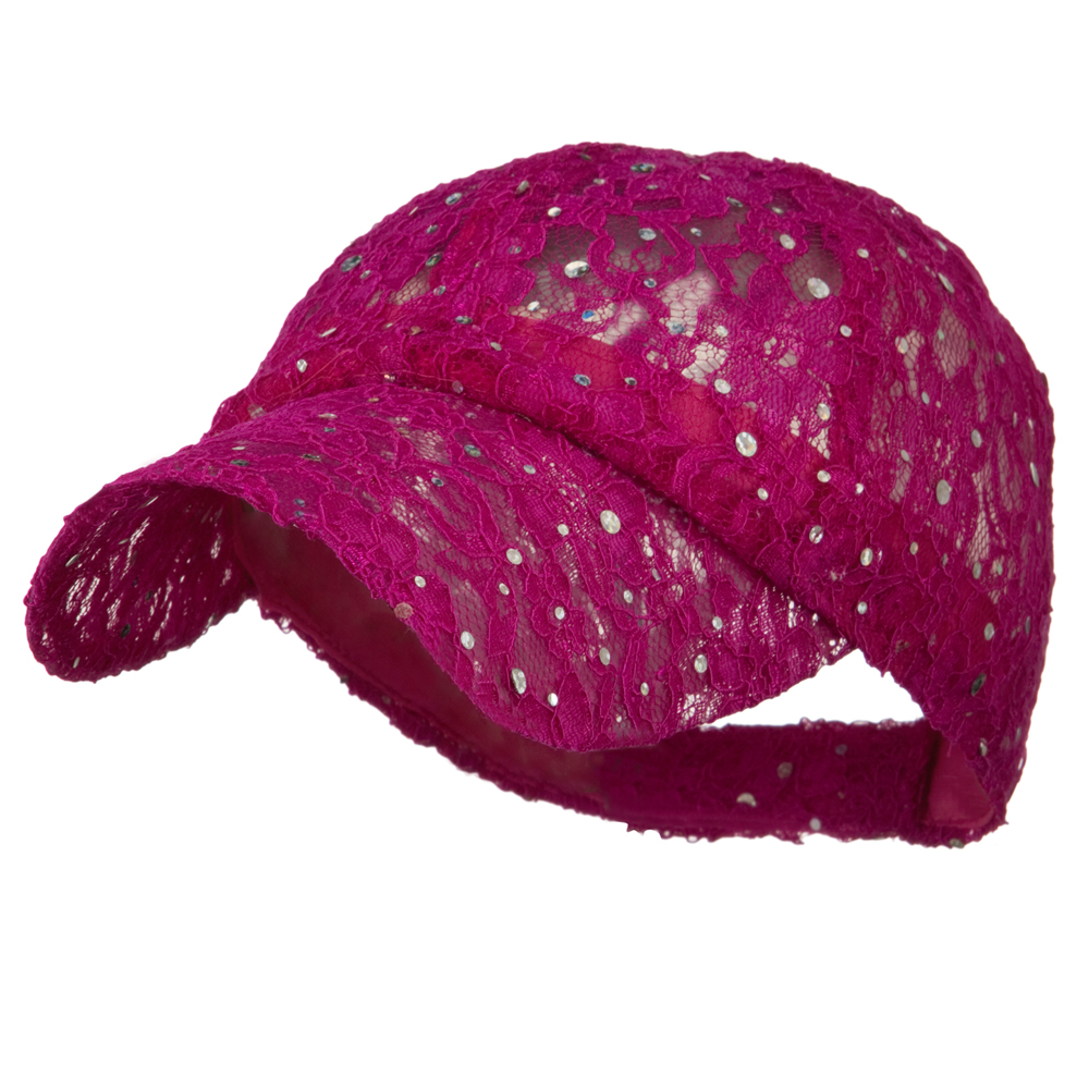 Lace Sequin Glitter Cap - Fuschia - Hats and Caps Online Shop - Hip Head Gear
