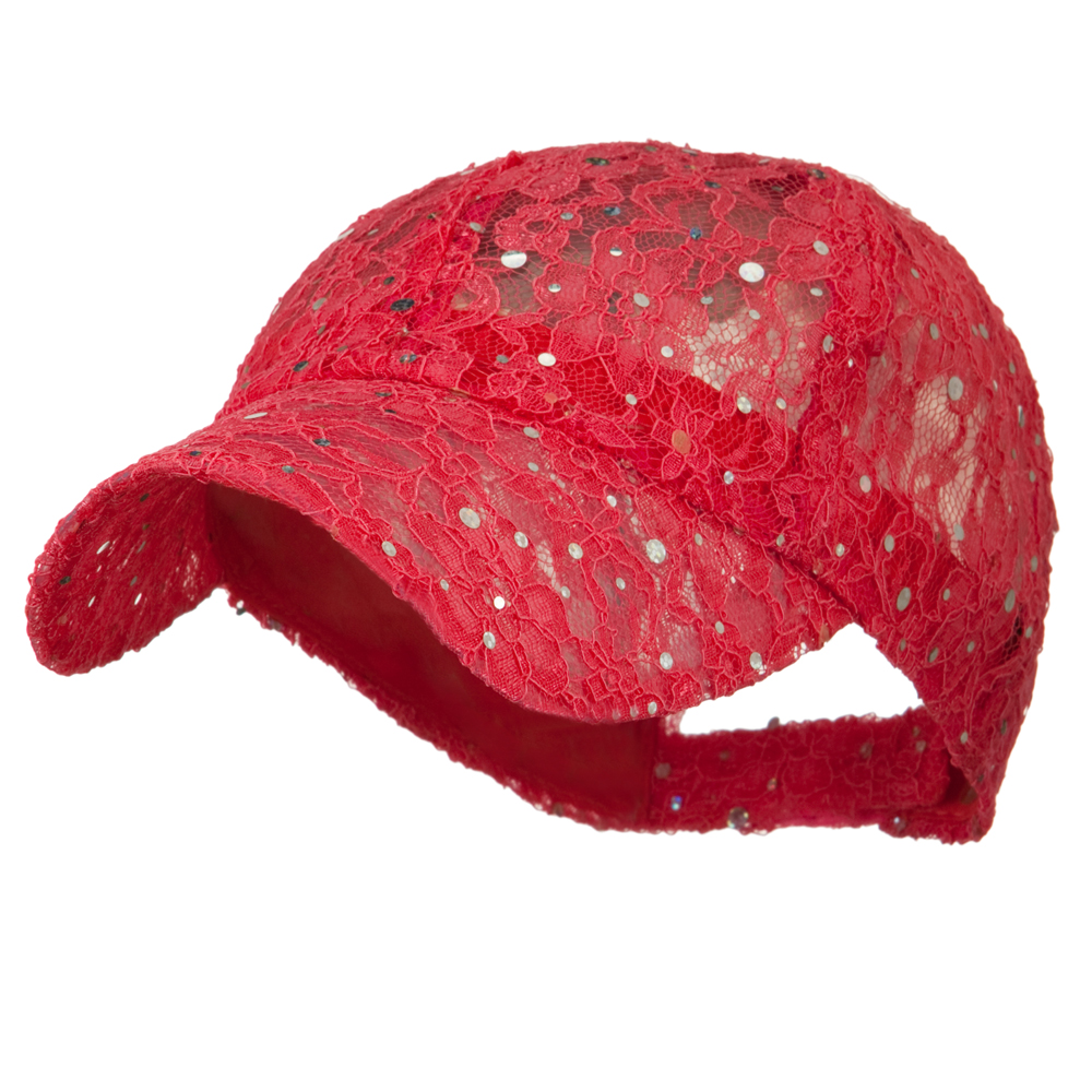 Lace Sequin Glitter Cap - Hot Pink - Hats and Caps Online Shop - Hip Head Gear