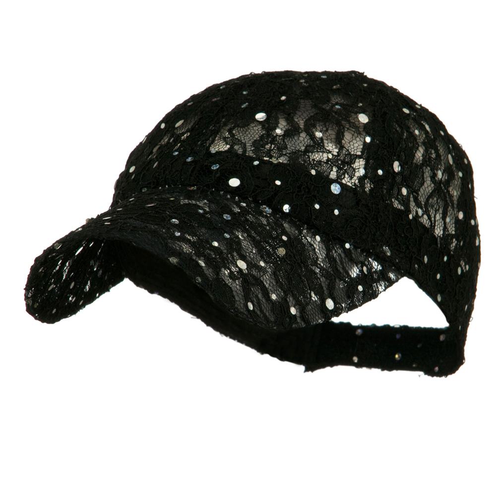 Lace Sequin Glitter Cap - Black - Hats and Caps Online Shop - Hip Head Gear