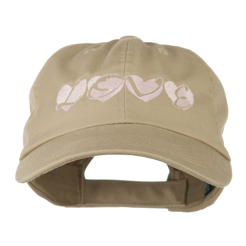 Love Hearts Embroidered Cotton Cap - Khaki - Hats and Caps Online Shop - Hip Head Gear