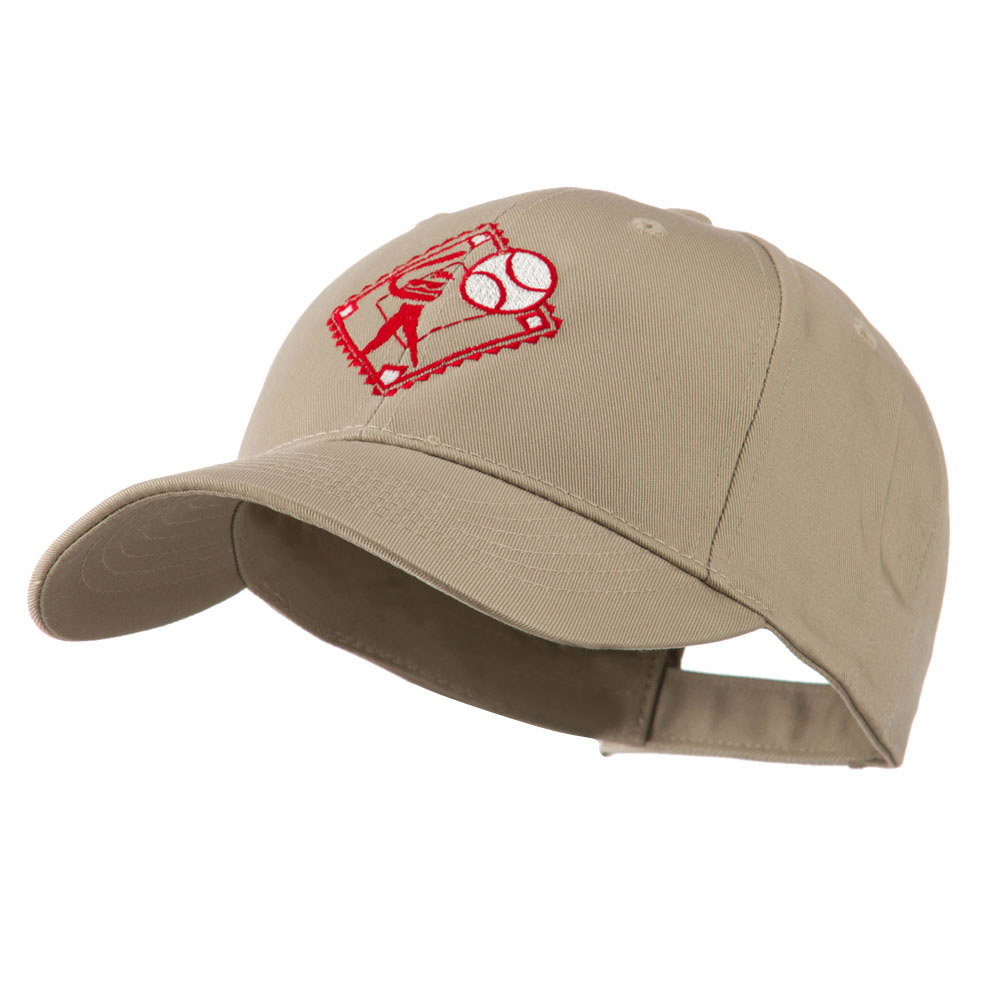Baseball with Big Ball Logo Embroidered Cap - Khaki - Hats and Caps Online Shop - Hip Head Gear