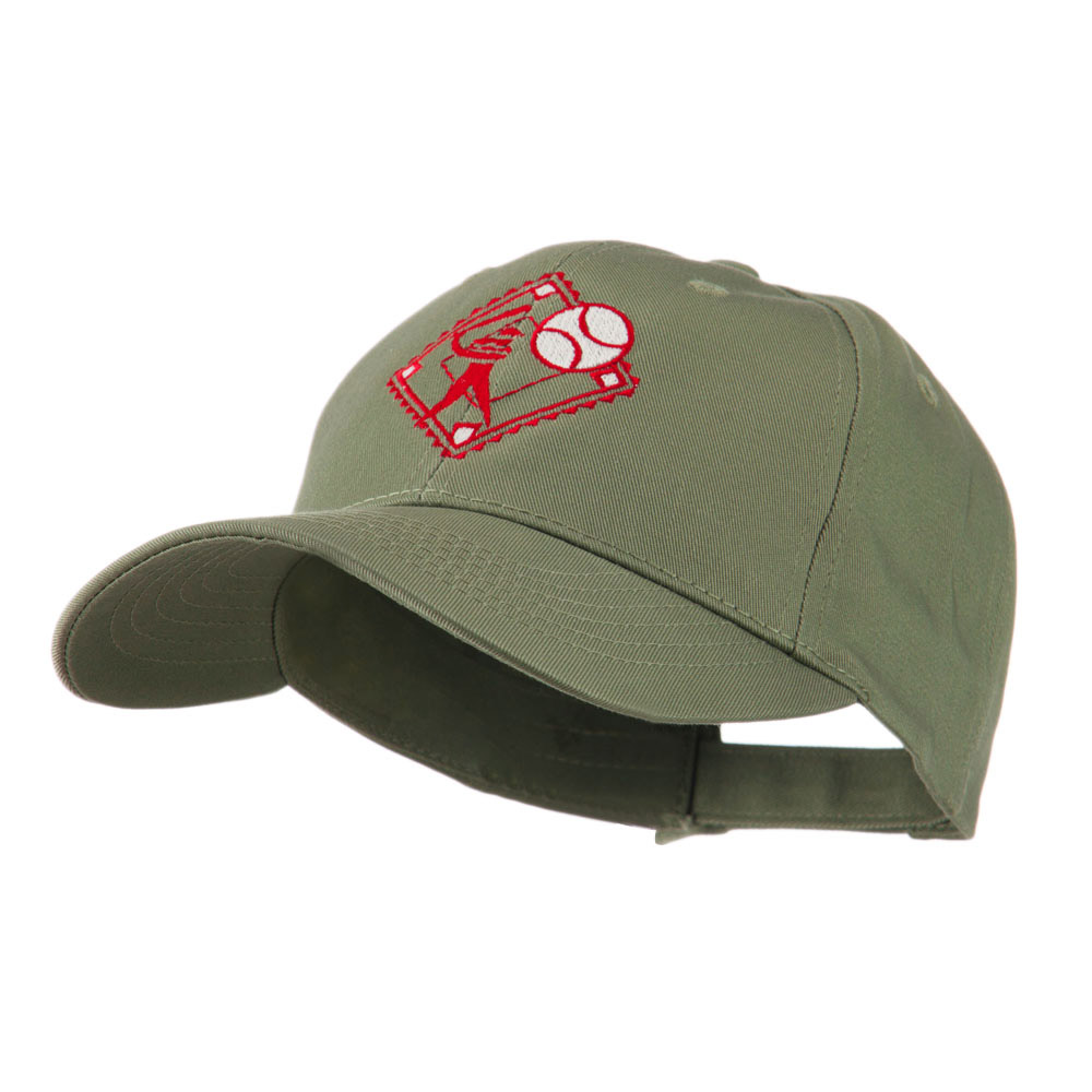 Baseball with Big Ball Logo Embroidered Cap - Olive - Hats and Caps Online Shop - Hip Head Gear