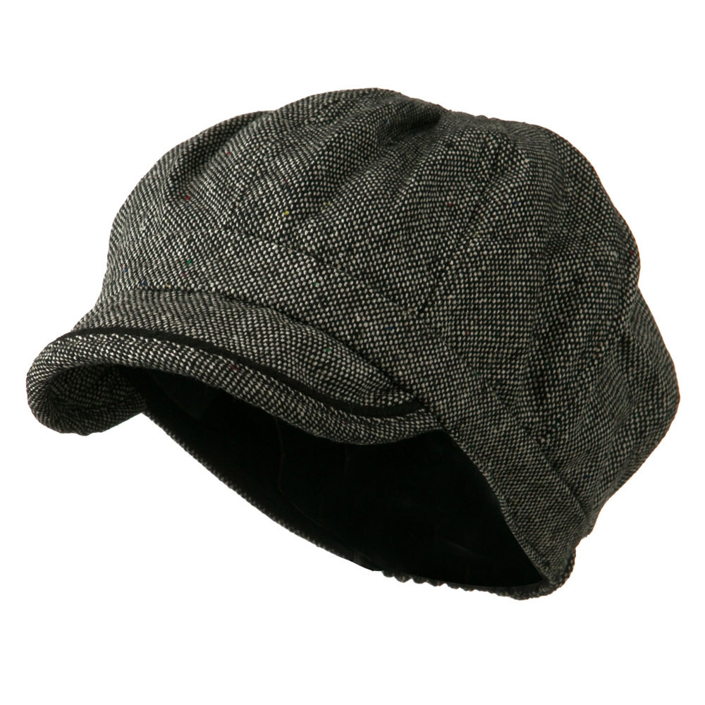 Lady's Wool Blend Tweed Newsboy Cap - Black White - Hats and Caps Online Shop - Hip Head Gear