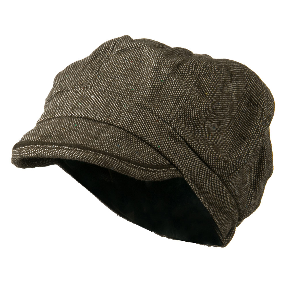 Lady's Wool Blend Tweed Newsboy Cap - Brown Beige - Hats and Caps Online Shop - Hip Head Gear