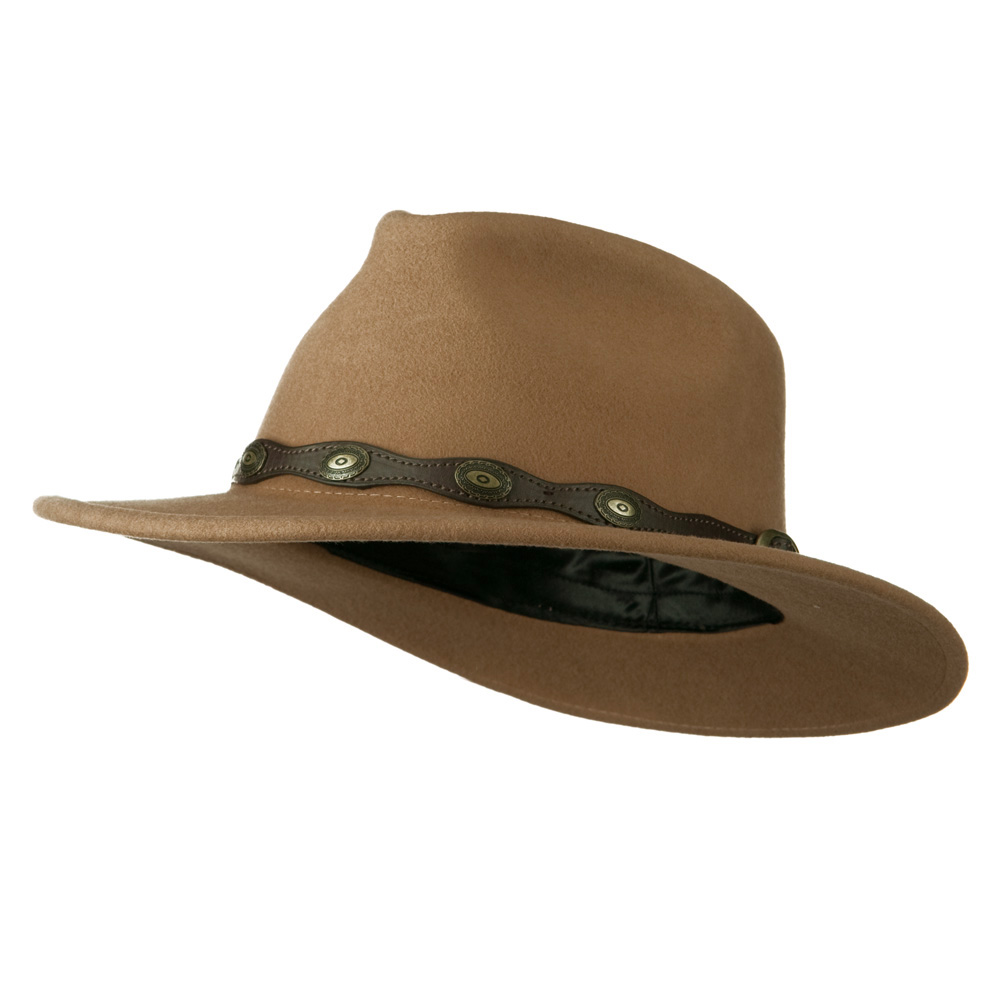 Unisex Wool Felt Leatherette Band Outback Cowboy Hat - Camel - Hats and Caps Online Shop - Hip Head Gear