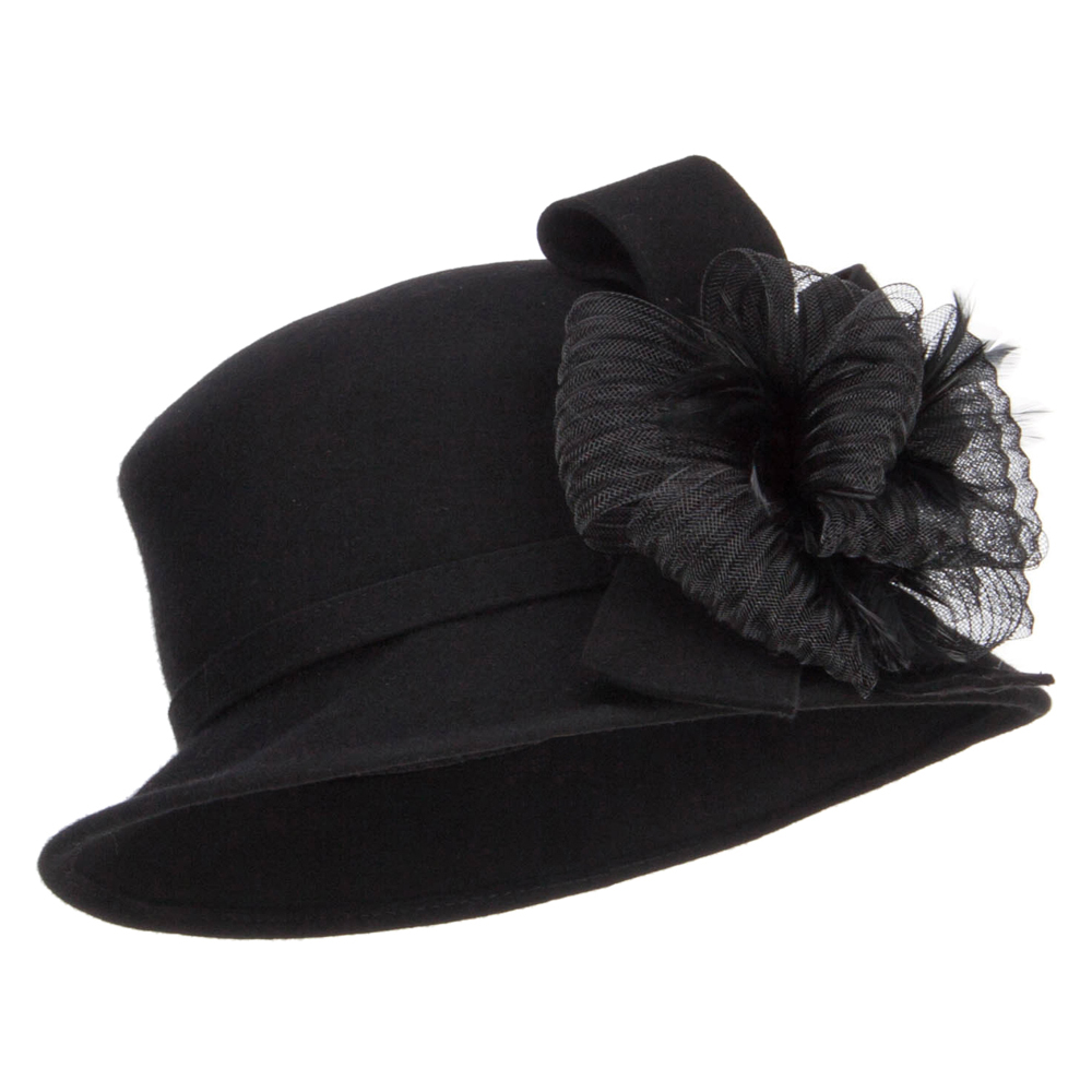 Big Loops Wool Felt Fashion Hat - Black
