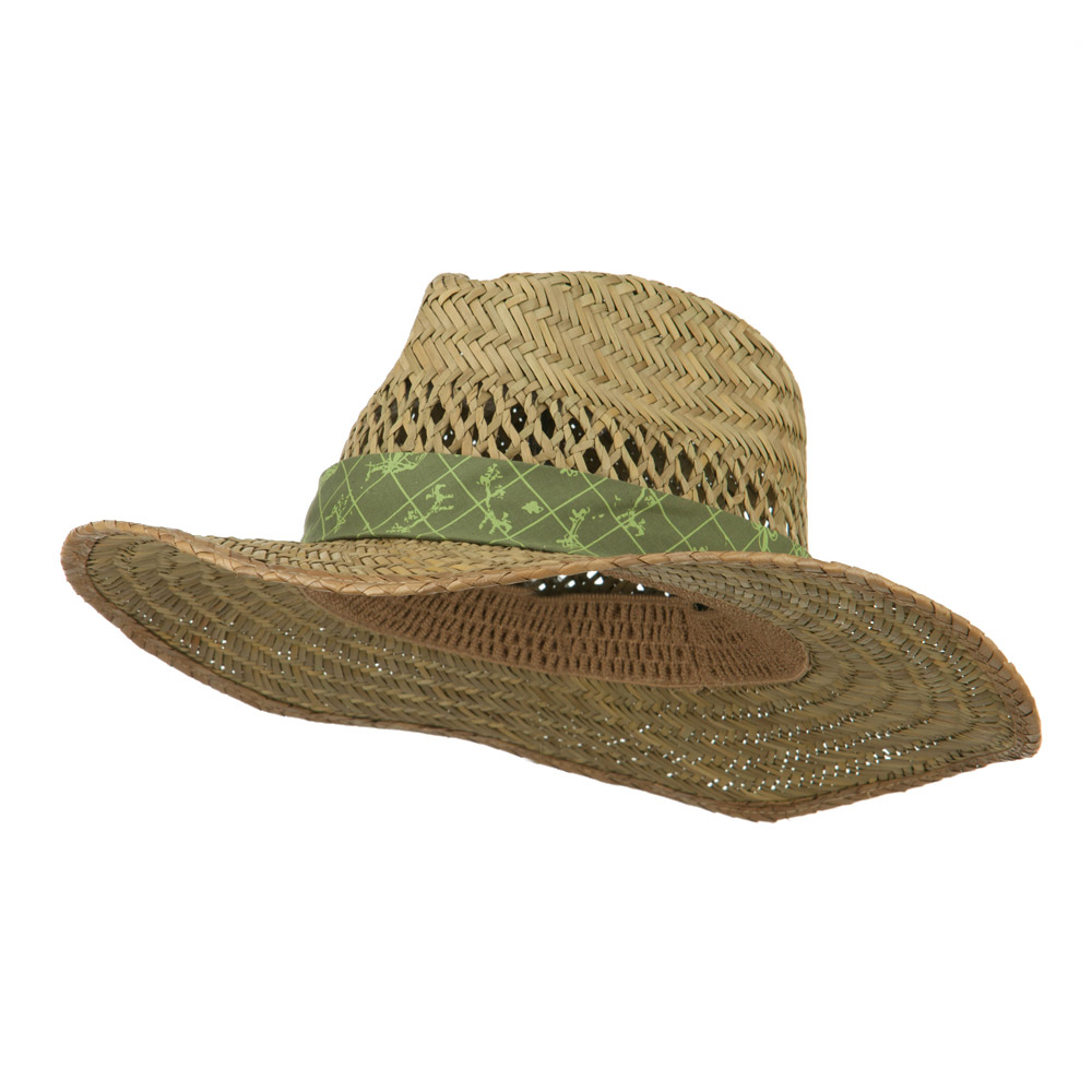 Lindu Straw Hat with Patterned Band - Olive - Hats and Caps Online Shop - Hip Head Gear