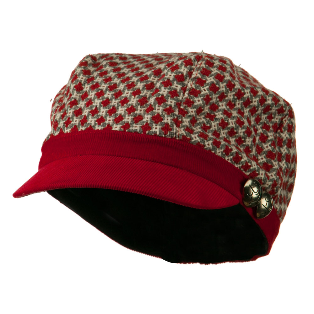 Libby Silver Button Cabbie Cap - Red
