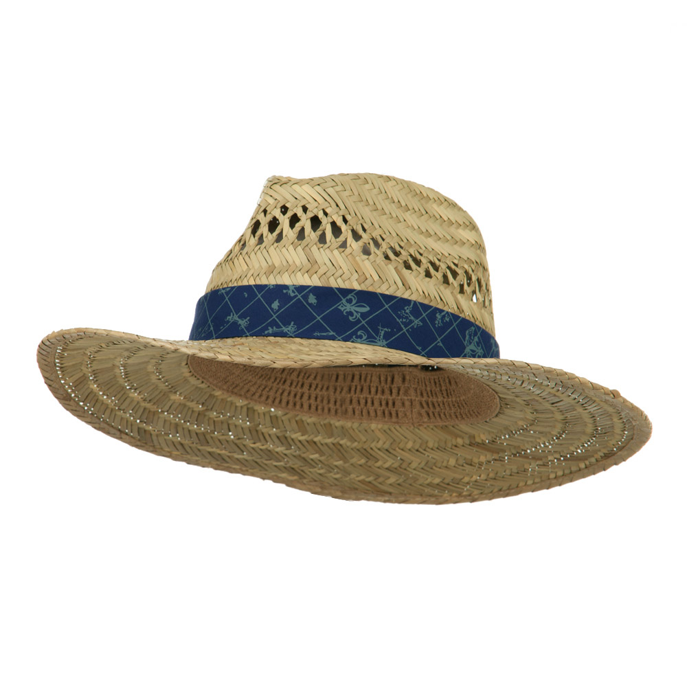 Lindu Straw Hat with Patterned Band - Navy - Hats and Caps Online Shop - Hip Head Gear