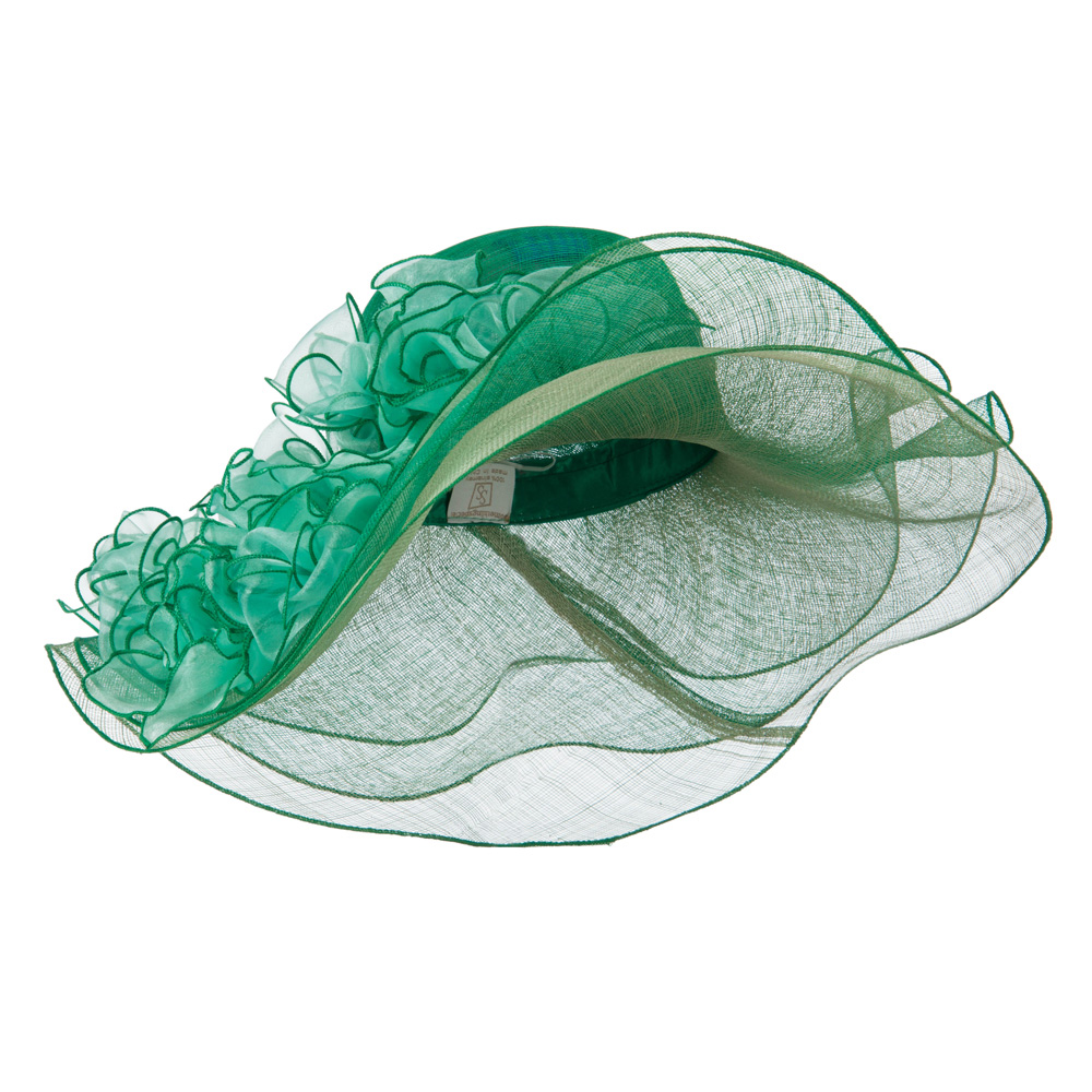 3 Layers Ruffled Brim Sinamay Hat - Green - Hats and Caps Online Shop - Hip Head Gear